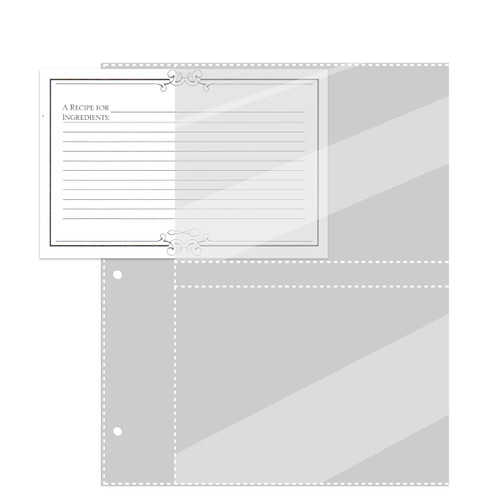 Full Page 5x7 Recipe Card Protectors For 3-Ring Binder 20ea