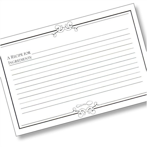 4x6 Initial Gourmet (Plain) Recipe Card - 40 ea