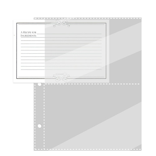 Half Page 4x6 Recipe Card Protectors for 3-Ring Binder 20ea