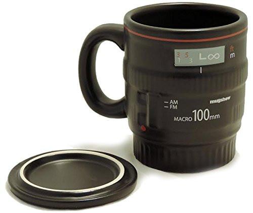 Ceramic Black Camera Lens Coffee Mug -  with Handle & Lid