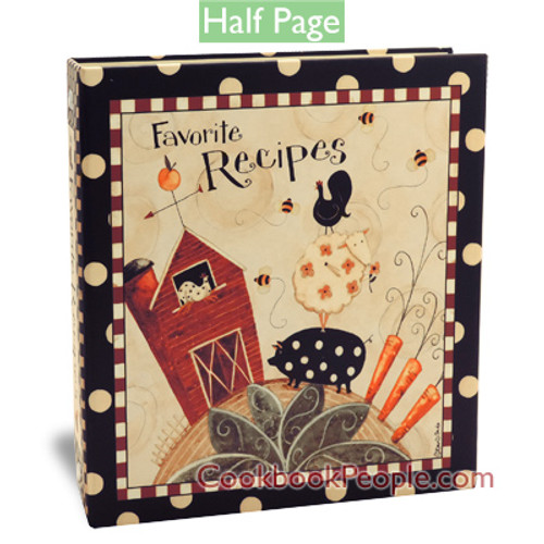 Half Page Recipe Card Binder-Dotty Farm