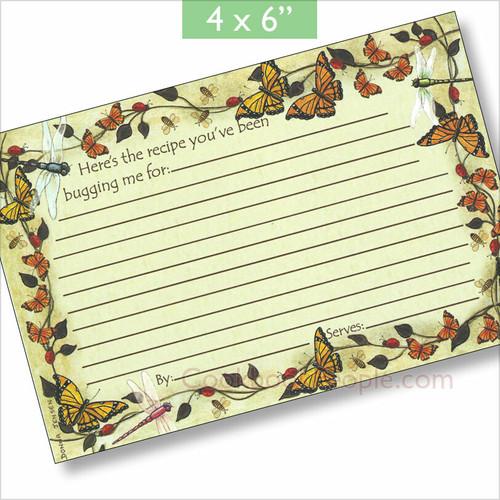 4x6 Butterfly Summer Recipe Card