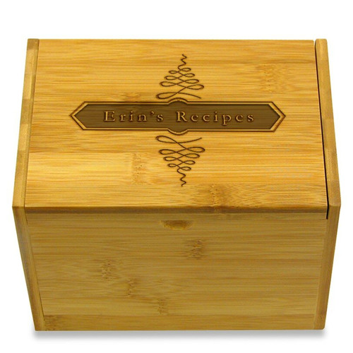Apothecary Bamboo Personalized 4x6 Recipe Card Box