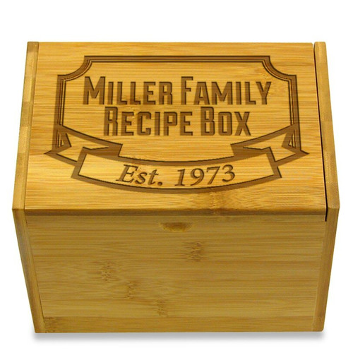 Banner Year Bamboo Personalized 4x6 Recipe Card Box