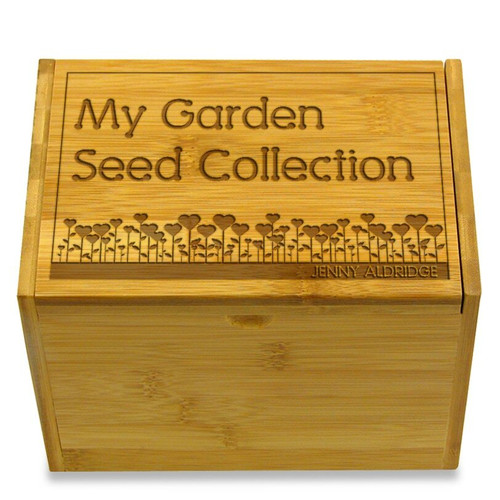 Garden Love Bamboo Personalized 4x6 Recipe Card Box