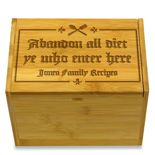 Gutenberg Bamboo Personalized 4x6 Recipe Card Box