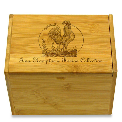 Rooster Collection Bamboo Personalized 4x6 Recipe Card Box