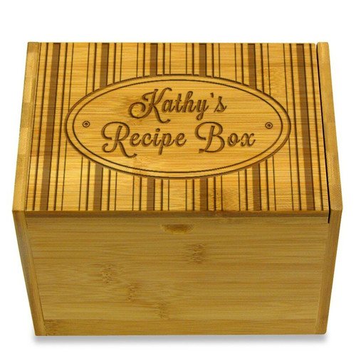 Collection Hat Box Bamboo Personalized 4x6 Recipe Card Box
