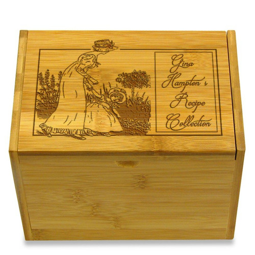 Collection Mother & Daughter Bamboo Personalized 4x6 Recipe Card Box
