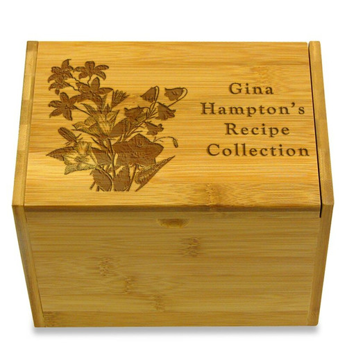 Collection Bell Flowers Bamboo Personalized 4x6 Recipe Card Box