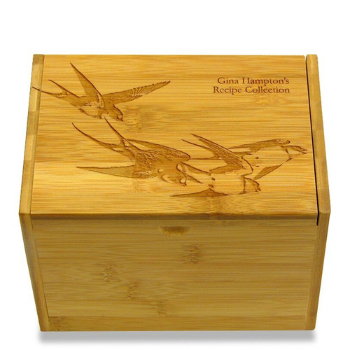 Collection Swallows Bamboo Personalized 4x6 Recipe Card Box