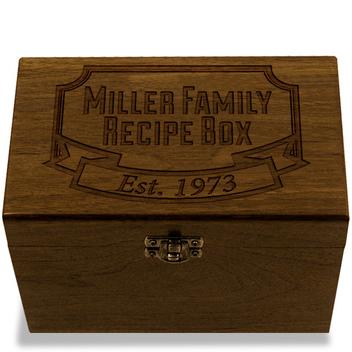 Banner Year Collection Walnut Personalized 4x6 Recipe Card Box