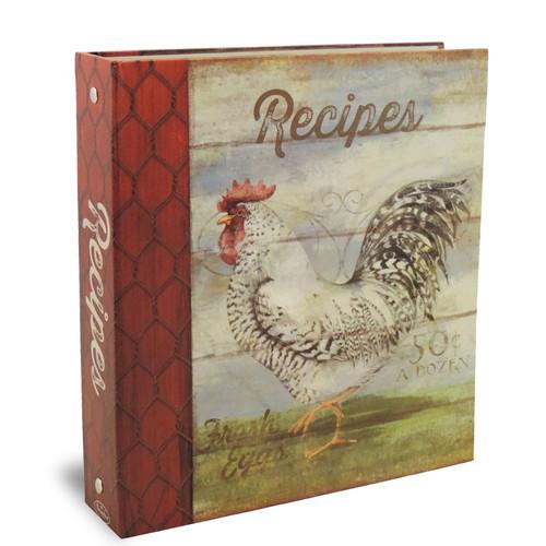 Half Page Recipe Card Binder-Barnyard Rooster