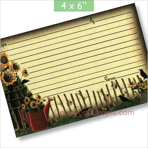 4x6 Sunflower Summer Recipe Card