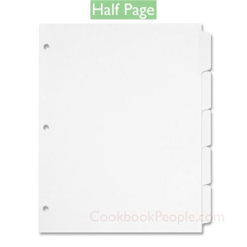 Half Page Cookbook Tab Dividers - 5 ea