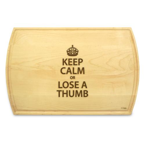 Keep Calm 10x16 Grooved Maple Cutting Board