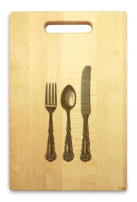Knife Fork Spoon 10x16 Handle Monogram Cutting Board