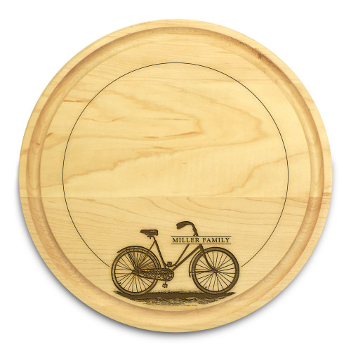 Bicycle 10in Circle Maple Cutting Board with Juice Groove