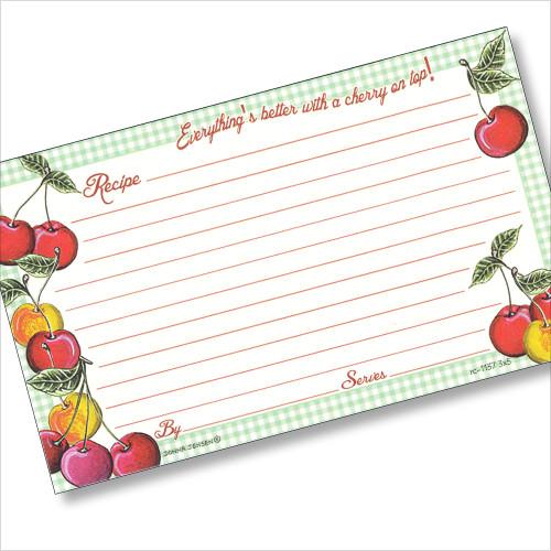 3 x 5 Gingham Cherry Recipe Card