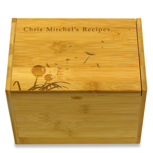 Dandelion Personalized 4x6 Recipe Card Box