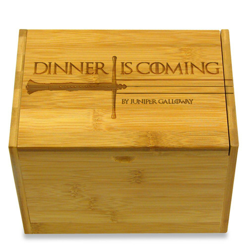 Dinner Is Coming Personalized 4x6 Recipe Card Box