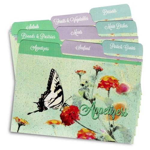 4x6 Tabbed Recipe Card Dividers - Butterfly Garden - 9 ea