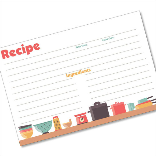 4x6 Recipe Card Pots and Pans White 40ea