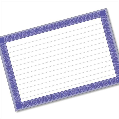 4x6 Recipe Card Rectangle Framed Blue 40ea