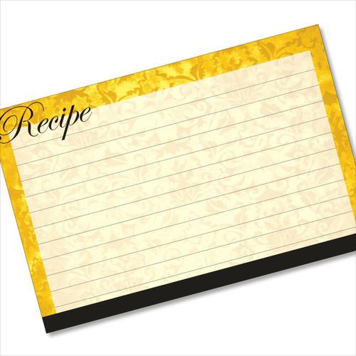 4x6 Recipe Card Velvet Vintage Wallpaper Yellow 40ea