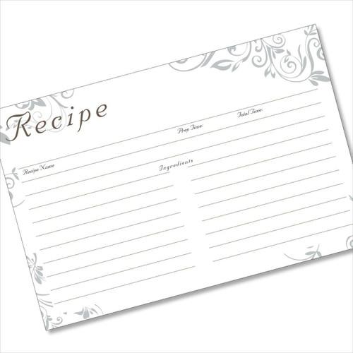 4x6 Recipe Card Silver Swirls Grey 40ea