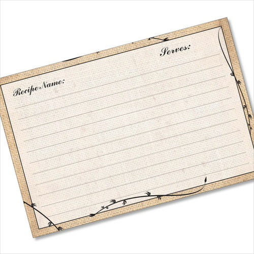 4x6 Recipe Card Burlap Vines Brown 40ea
