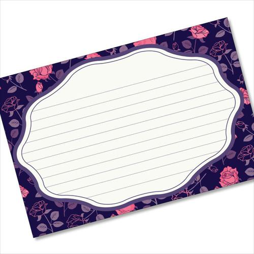 4x6 Recipe Card Rose Pattern Purple Notecard or Gift Card or 40ea