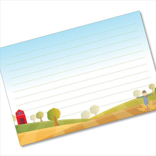 4x6 Recipe Card Scarecrow Barn Notecard or Thank You Card or 40ea