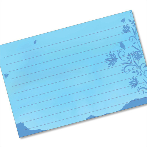 4x6 Recipe Card Blue Butterflies Silhouette Note card or Gift Card or 40ea