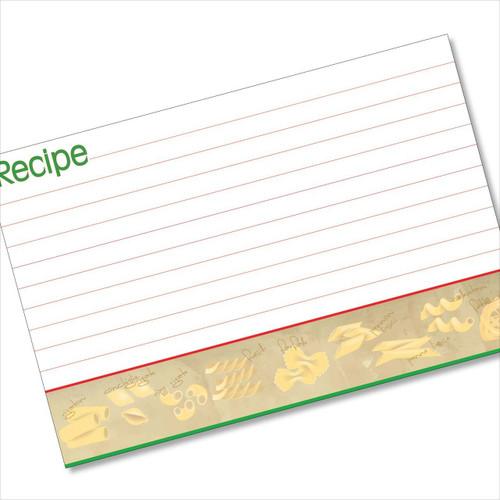4x6 Recipe Card Pasta Italia Red and Green 40ea