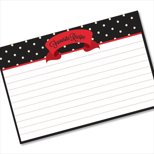 4x6 Recipe Card Red Ribbon Black Polka Dot 40ea