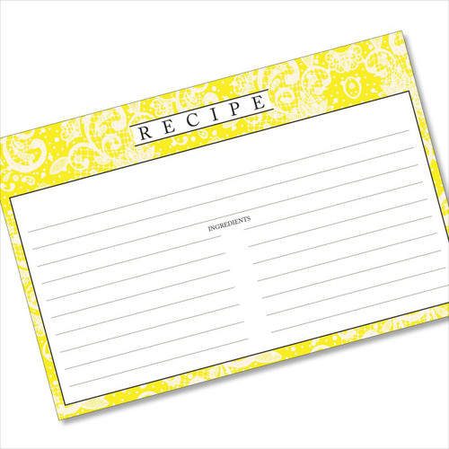 4x6 Recipe Card Lace Settings Lemon Yellow 40ea
