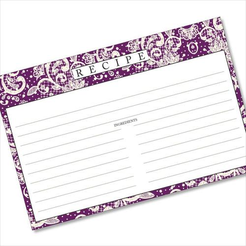 4x6 Recipe Card Lace Settings Plum Purple 40ea
