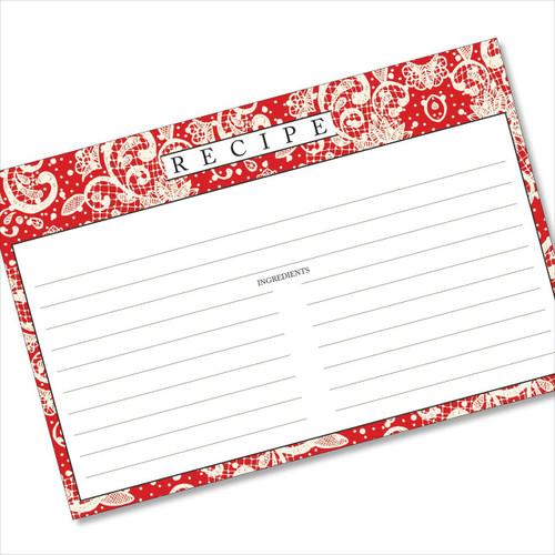 4x6 Recipe Card Lace Settings Apple Red 40ea