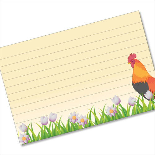 4x6 Recipe Card Rooster Tulipster Index Card or 40ea