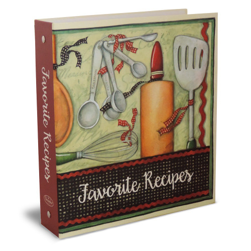 Half Page Recipe Card Binder-Cook with Love Rolling Pin