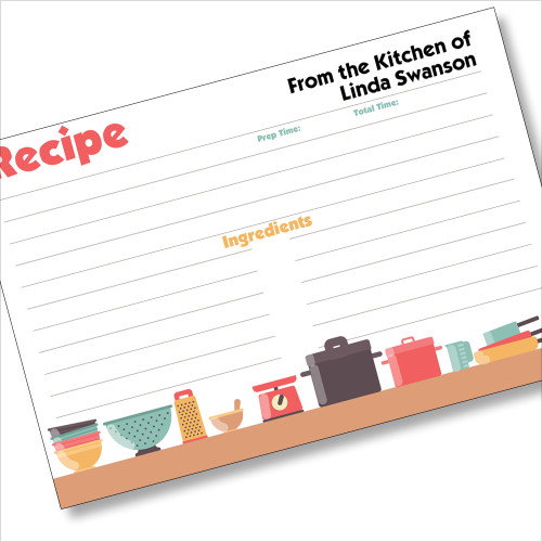 Personalized 4x6 Recipe Card Pots and Pans White 40ea