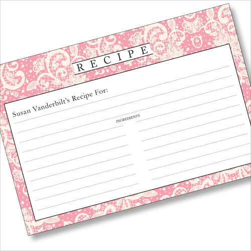 Personalized 4x6 Recipe Card Lace Settings Light Pink 40ea