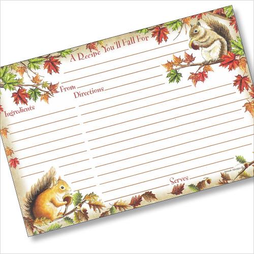 4x6 Autumn Squirrels Recipe Card