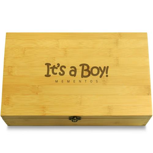 It's a Boy Softer Font Wooden Box Lid