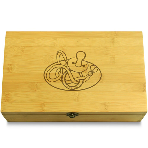 Etched Pacifier Wooden Chest Lid