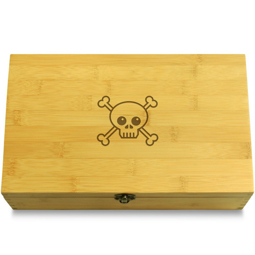 Funny Skull and Crossbones Wooden Chest Lid