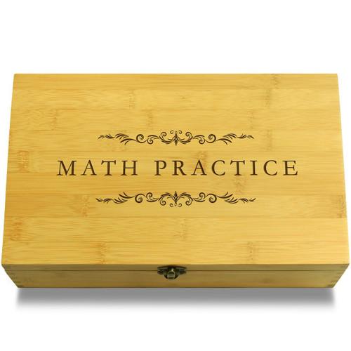 Math Practice Filigree Wood Chest Lid