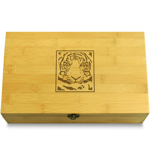 Tiger Pattern Wood Chest Lid