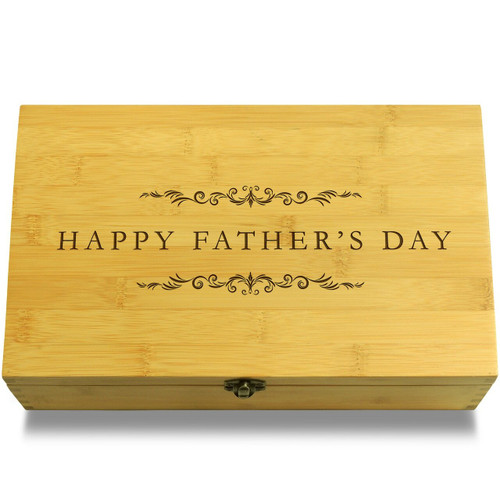 Happy Father's Day Filigree Wood Chest Lid